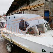 Ходовой тент на лодку Прогресс-2 на штатное (заводское) стекло