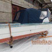 Ходовой тент на лодку Амур Д на стекло производства tentilodka.ru