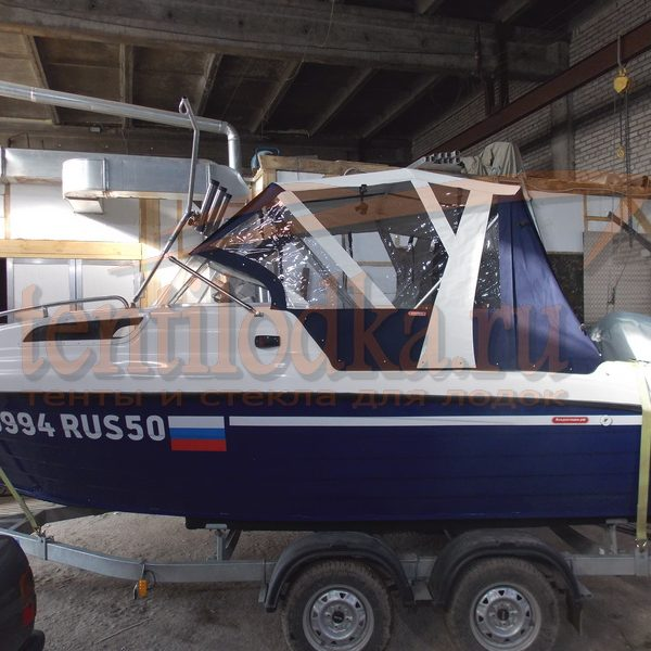 Ходовой тент на лодку Неман 550 с каютой