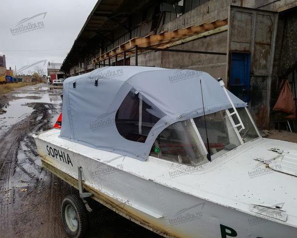 Ходовой тент на лодку Прогресс 2 на заводское стекло