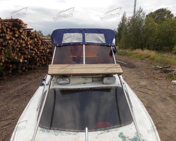 Ходовой тент на лодку Ладога 2 на стекло производства tentilodka.ru